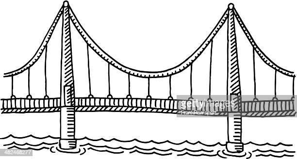 ilustraciones, imágenes clip art, dibujos animados e iconos de stock de puente vista lateral de dibujo - puente colgante