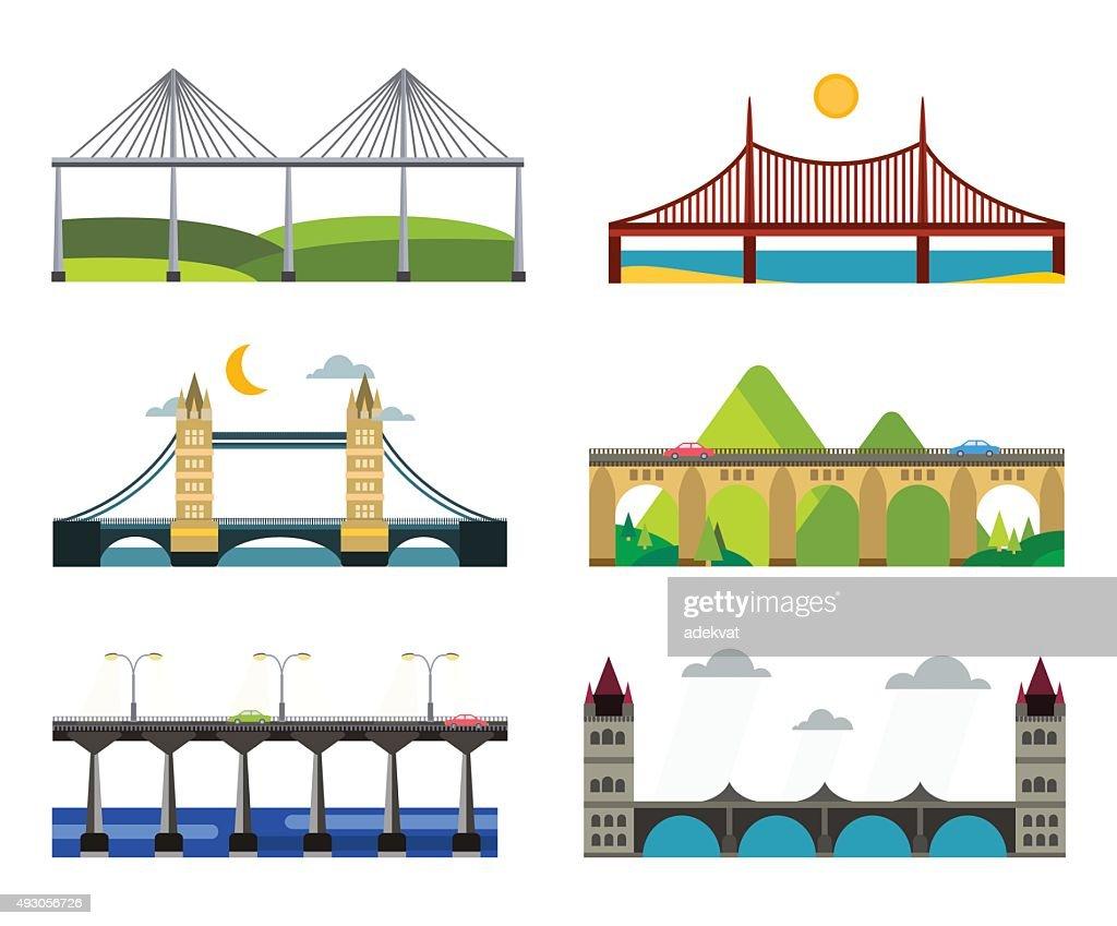 Bridge silhouette vector illustration set