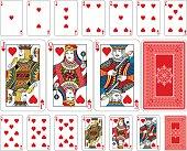 Bridge size Heart playing cards plus reverse