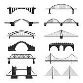 Bridge urban construction set, city landmark view
