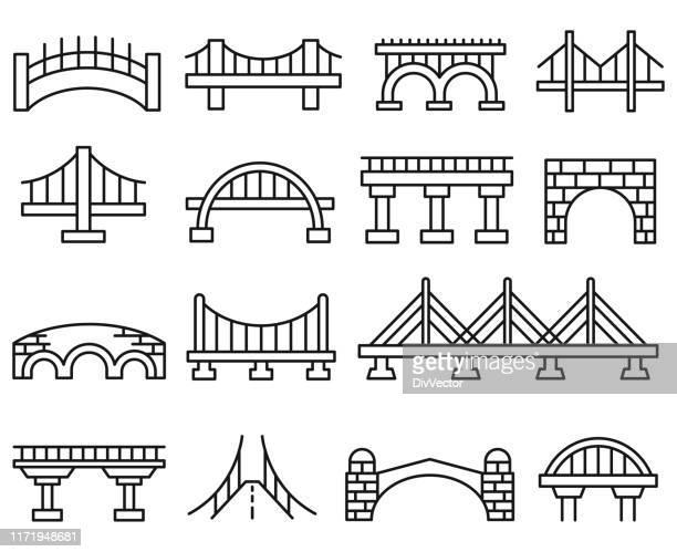 bridge vector icon set - elevated walkway stock illustrations