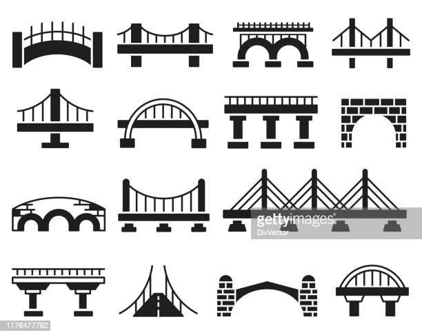 ilustraciones, imágenes clip art, dibujos animados e iconos de stock de conjunto de iconos vectoriales de puente - puente colgante