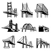 Bridges in perspective vector icons set