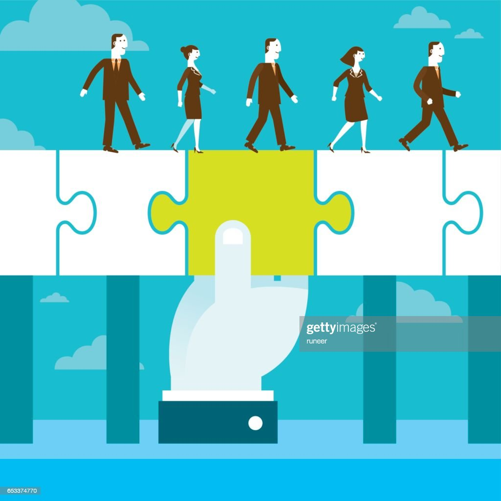 Bridging The Gap Jigsaw Puzzle Piece | New Business Concept : Stock Illustration