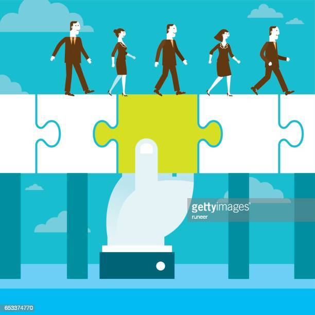 Bridging The Gap Jigsaw Puzzle Piece | New Business Concept