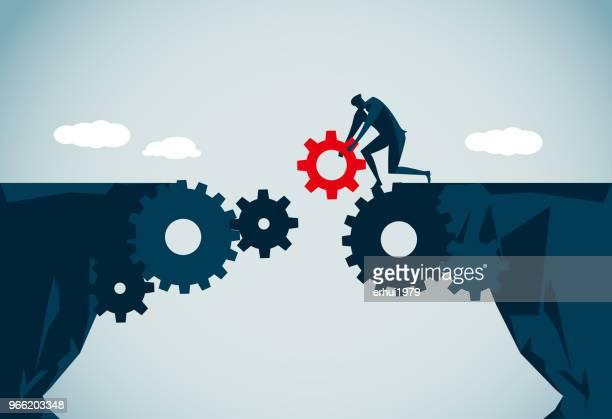 ilustraciones, imágenes clip art, dibujos animados e iconos de stock de tender un puente sobre las diferencias - empresario