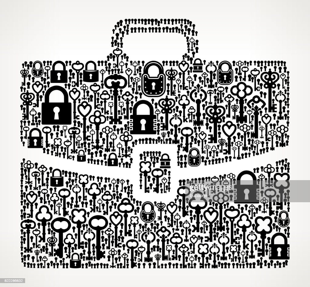 Briefcase  Antique Keys Black and White Vector Pattern : stock illustration