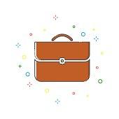 Briefcase color thin line icon