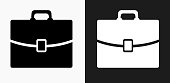 Briefcase Icon on Black and White Vector Backgrounds