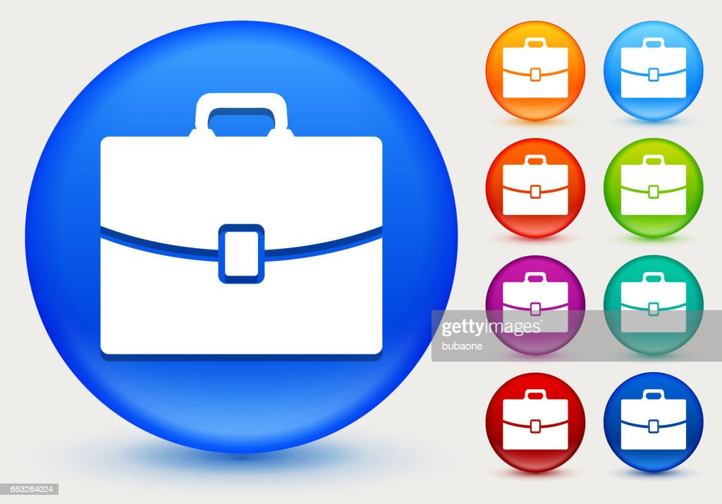 Briefcase Icon on Shiny Color Circle Buttons : Vector Art