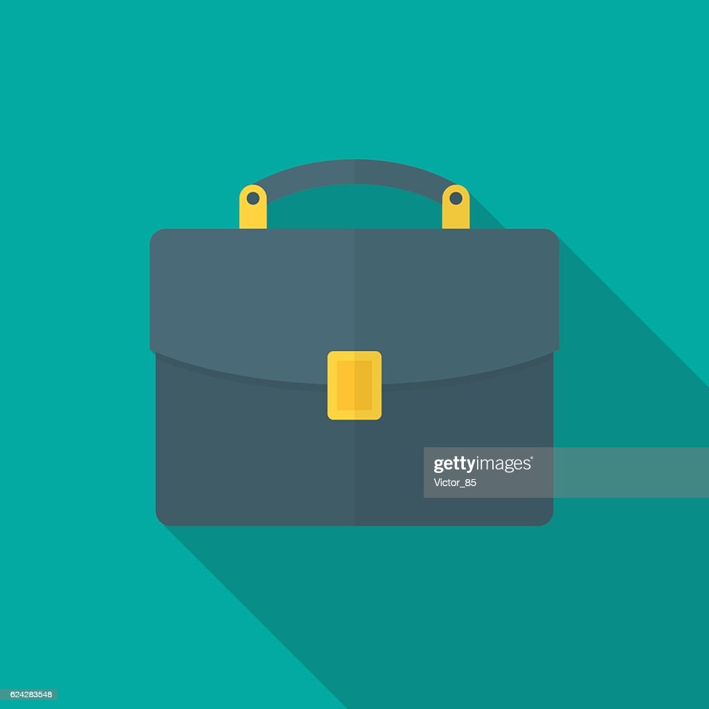 Briefcase icon with long shadow.