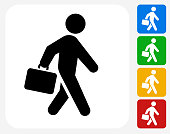 Briefcase Stick Figure Icon Flat Graphic Design