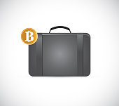 Briefcase with golden bitcoin illustration