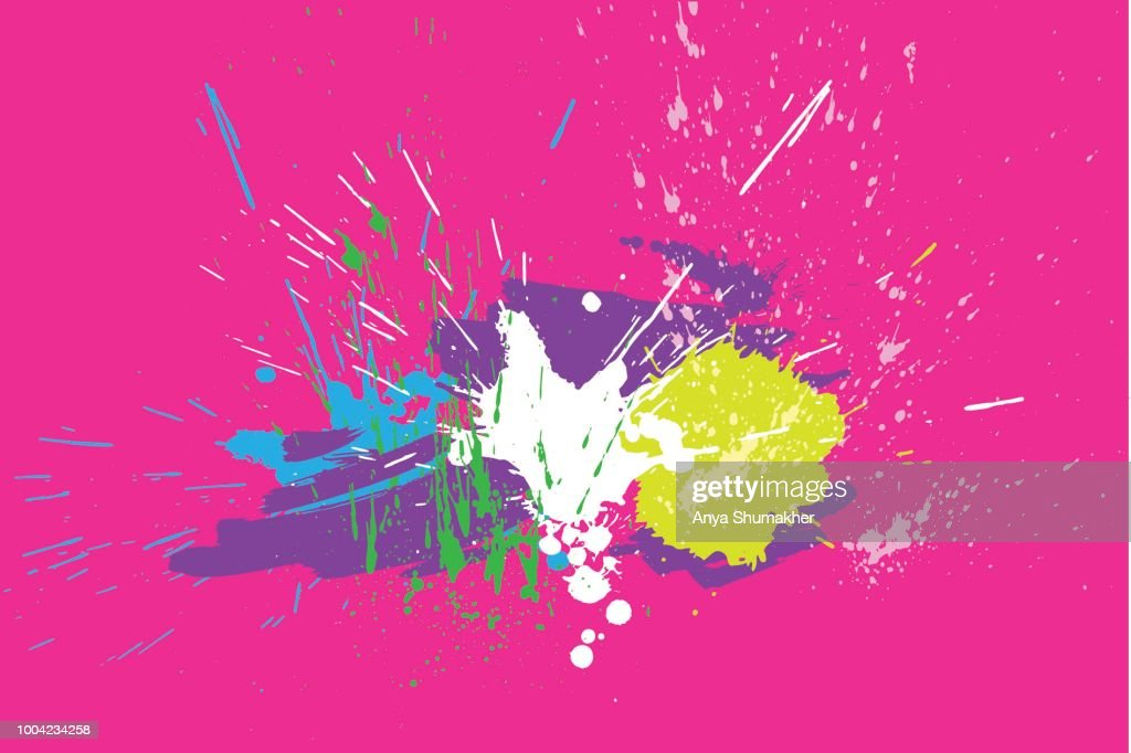 Brigh paint spots on a pink background. Abstract hand drawn backdrop. Vector illustration. Texture for cards and flyers design.