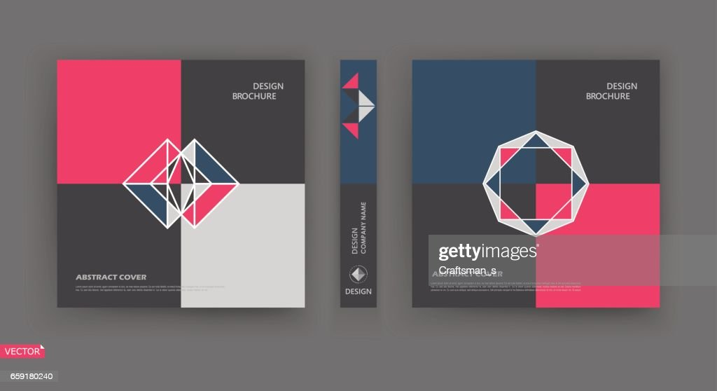 Bright a4 brochure cover design. Pink, blue, white, black Info banner frame. Patch title sheet model set. Modern vector front page. Elegant brand logo texture. Colored figure icon. Ad flyer text font