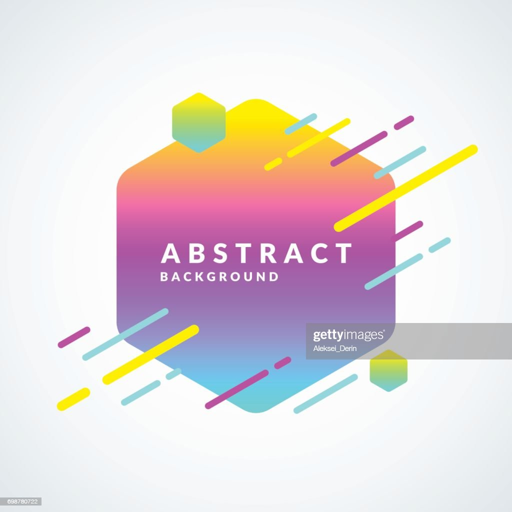 Bright abstract background with lines and hexagon in a minimalist style. Vector illustration with a gradient
