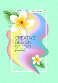 Bright abstract ink for a different design. Plumeria flower. Tropical Liquid ink. Modern style trends. Background for banner, card, poster, identity, web design. Holi.