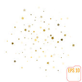 Bright abstract white modern pattern with golden stars. Vector illustration for wrapping, website, invitation or other design. Shiny gold background. Texture of gold foil. Festive banner.