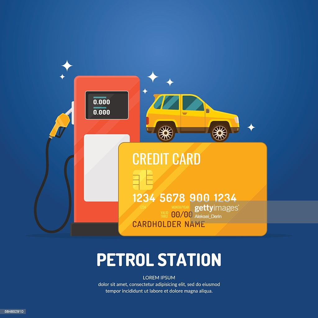 Bright advertising poster on the theme of gas station.
