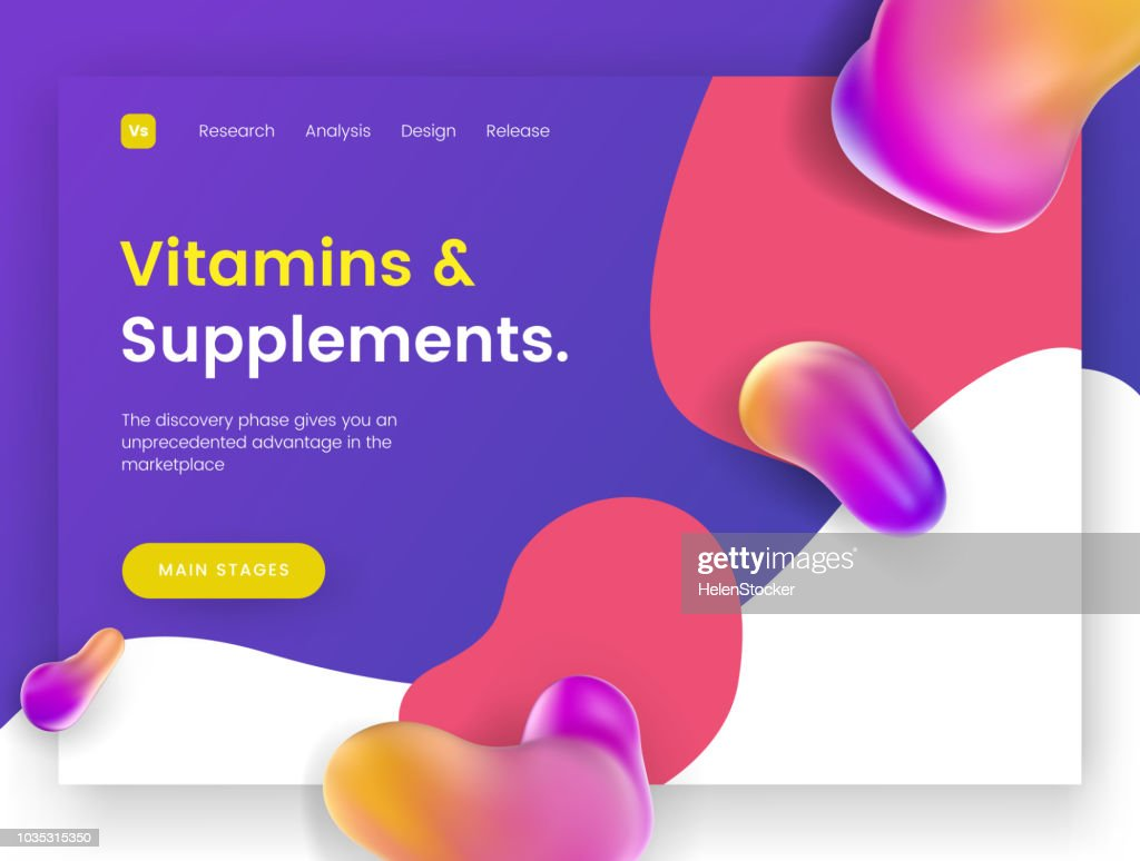 Bright and juicy landing page template for sites with health topics, vitamins, supplements and minerals.