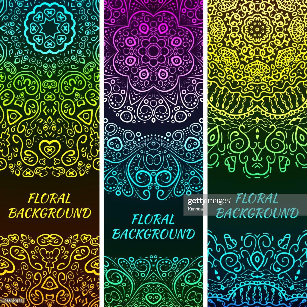 Bright asian decorative headers. Vector illustration