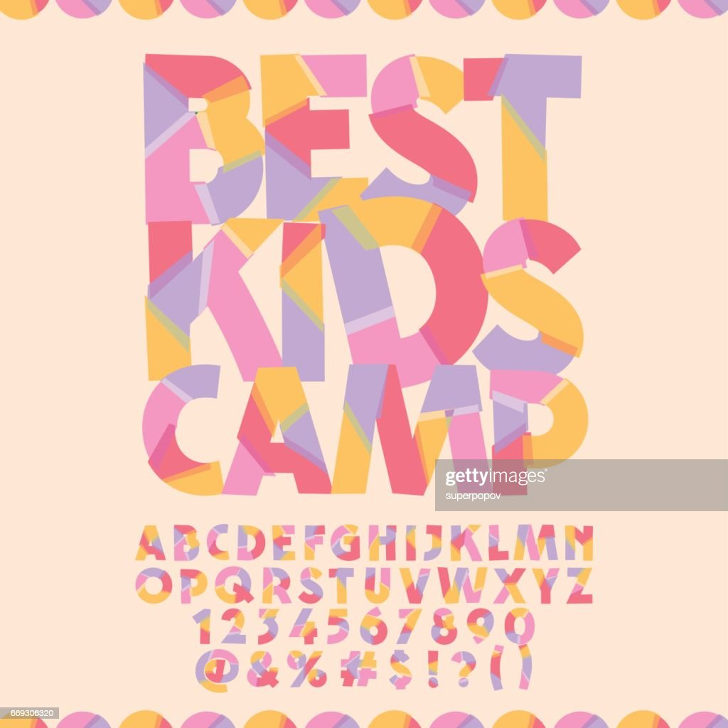 Bright banner with text Best kids camp