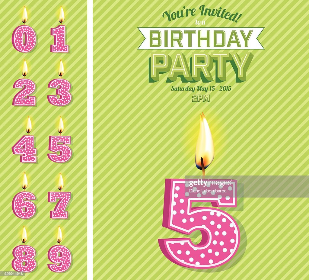 Bright Birthday Card Template With Number Candles Set Vector Art