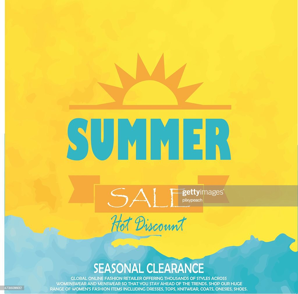 Bright blue and yellow poster with a sun for summer sale