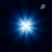 Bright blue star black background