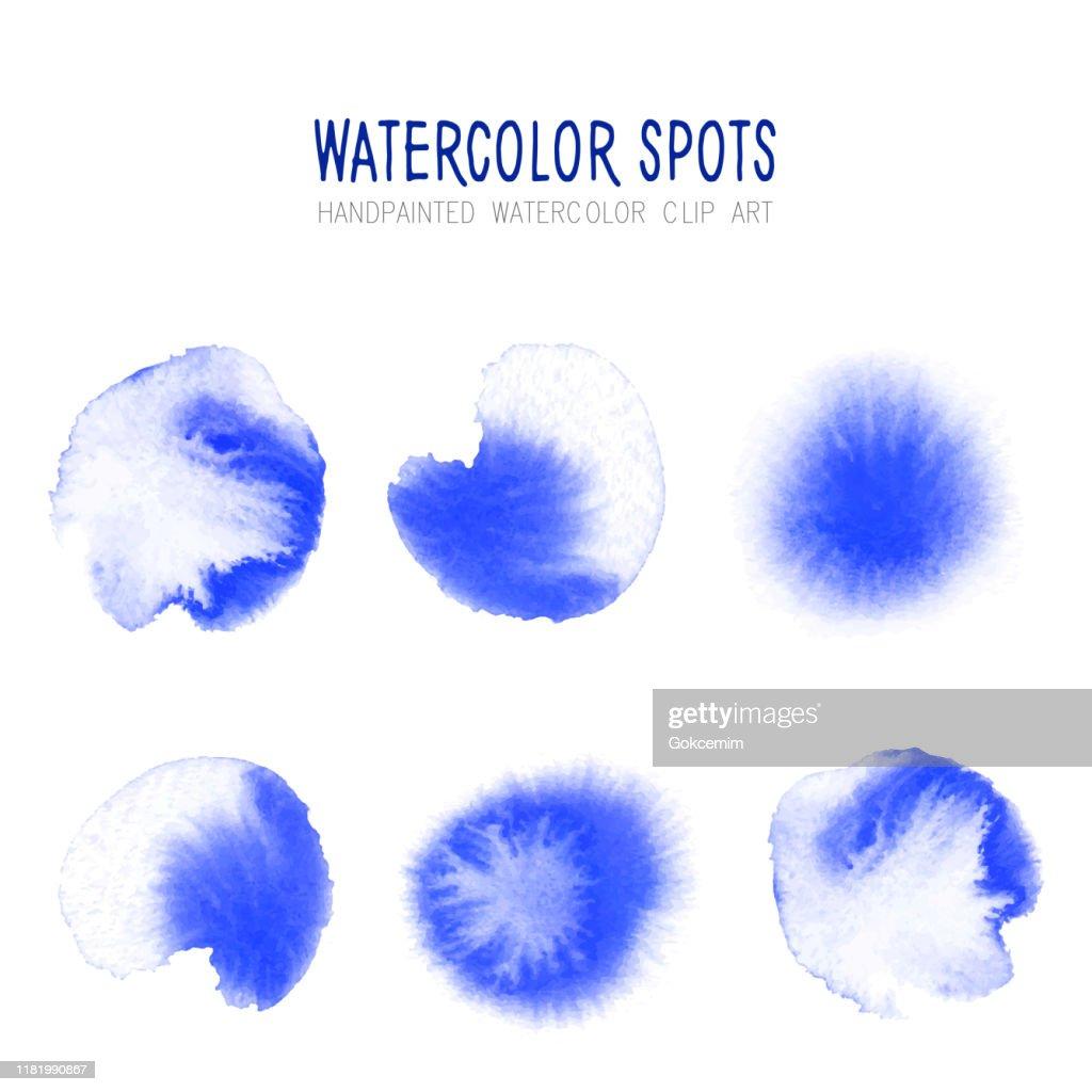 Hellblau Aquarell Kreis Spritzer Set isoliert auf weißem Hintergrund. Blaue Tinte Patches Set. Aquarell Kreise oder Flecken Sammlung. Design-Element für Grußkarten und Etiketten, abstrakte Hintergrund. : Stock-Illustration