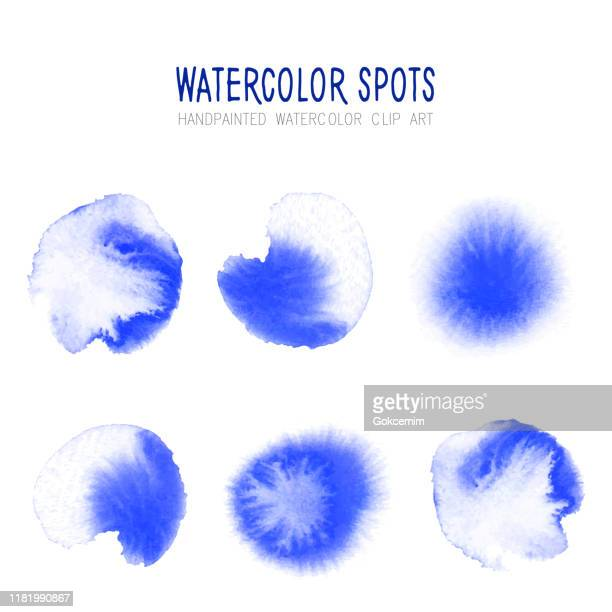 bright blue watercolor circle splashes set isolated on white background. blue ink patches set. watercolor circles or spots collection. design element for greeting cards and labels, abstract background. - {{asset.href}} stock illustrations