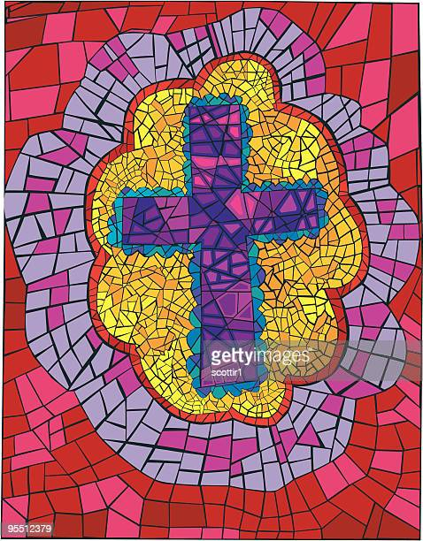 bright bordered mosaic cross - protestantism stock illustrations