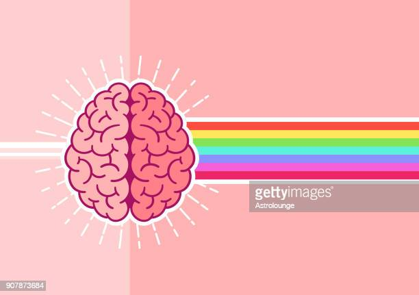bright brain - contemplation stock illustrations, clip art, cartoons, & icons