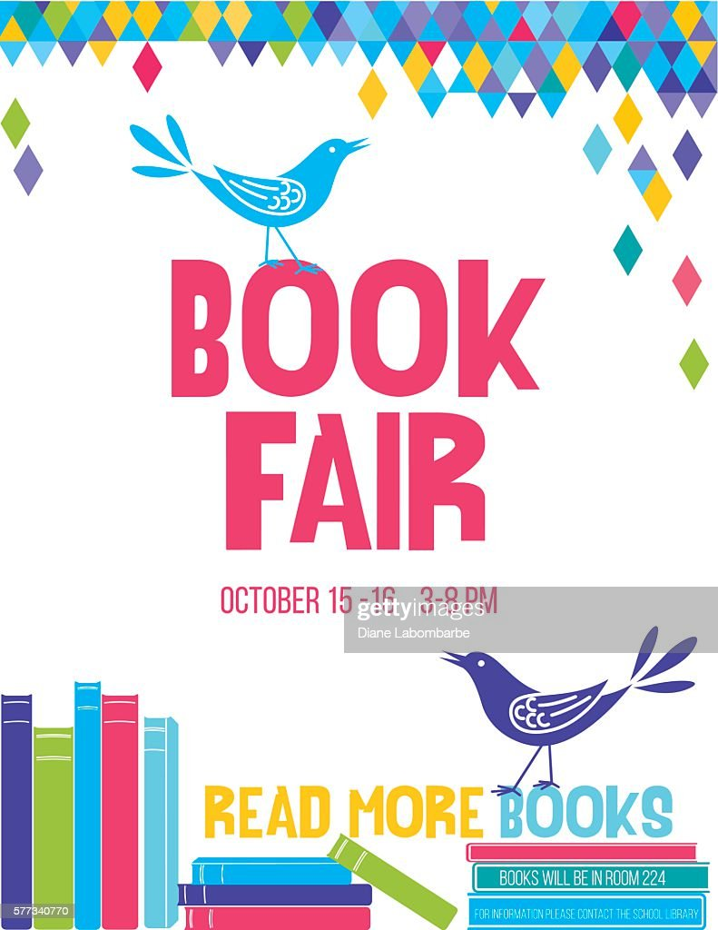 Bright Children's Book Fair Poster Template : stock illustration