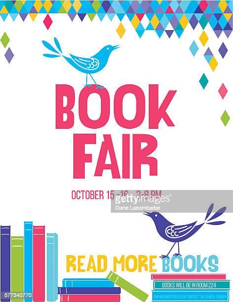ilustrações, clipart, desenhos animados e ícones de bright children's book fair poster template - lendo