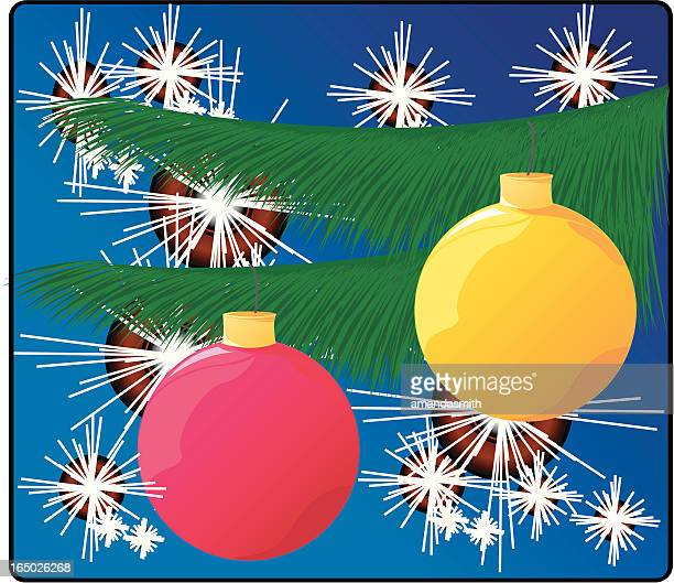 bright christmas ornaments - plant attribute stock illustrations, clip art, cartoons, & icons