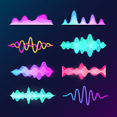 Bright color sound voice waves isolated on dark background. Abstract waveform, music pulse and equalizer wave vector set
