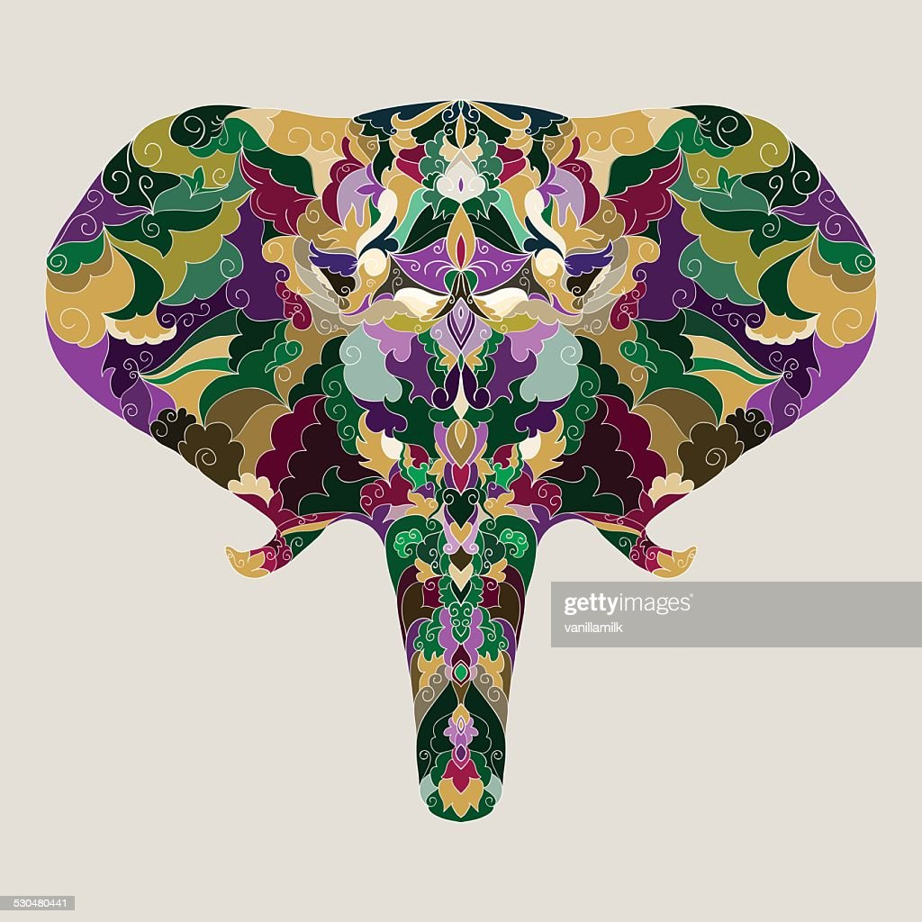 bright colored hand-drawing ornamental abstract elephant background