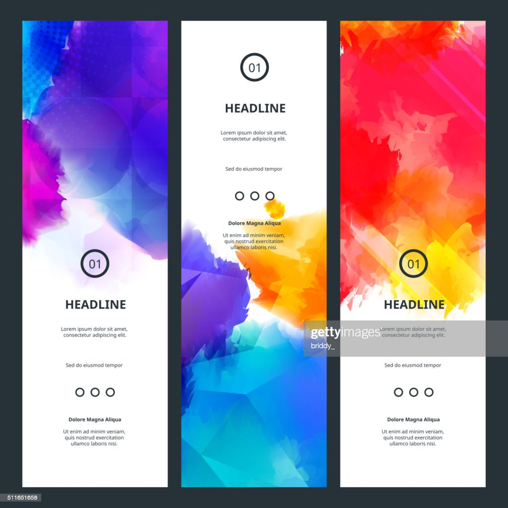 Bright Colorful Banners with Watercolor Splashes