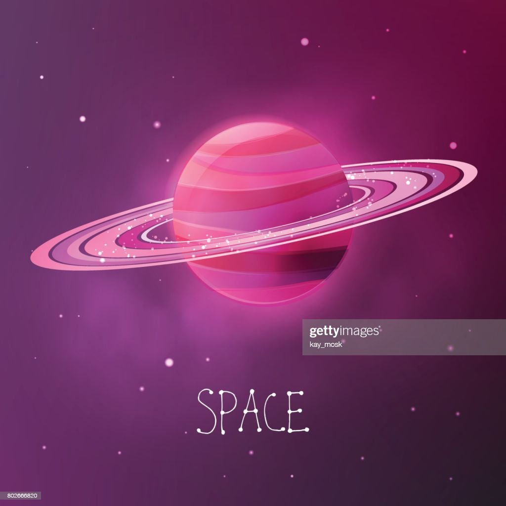Bright colorful planet with planetary rings. Space vector illustration in modern contemporary design.