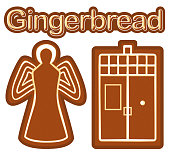 Bright colorful poster with ginger bread cookie angel and phone box.