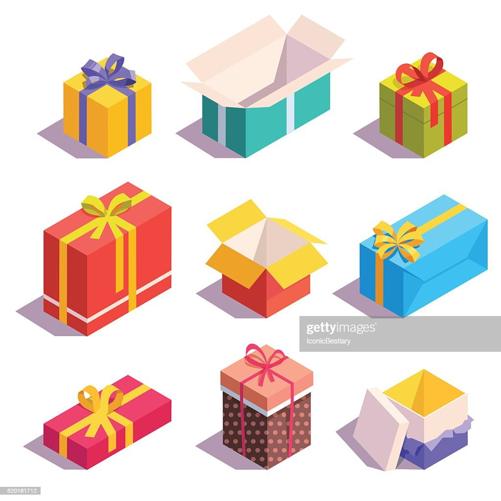 Bright, colorful present and gift boxes