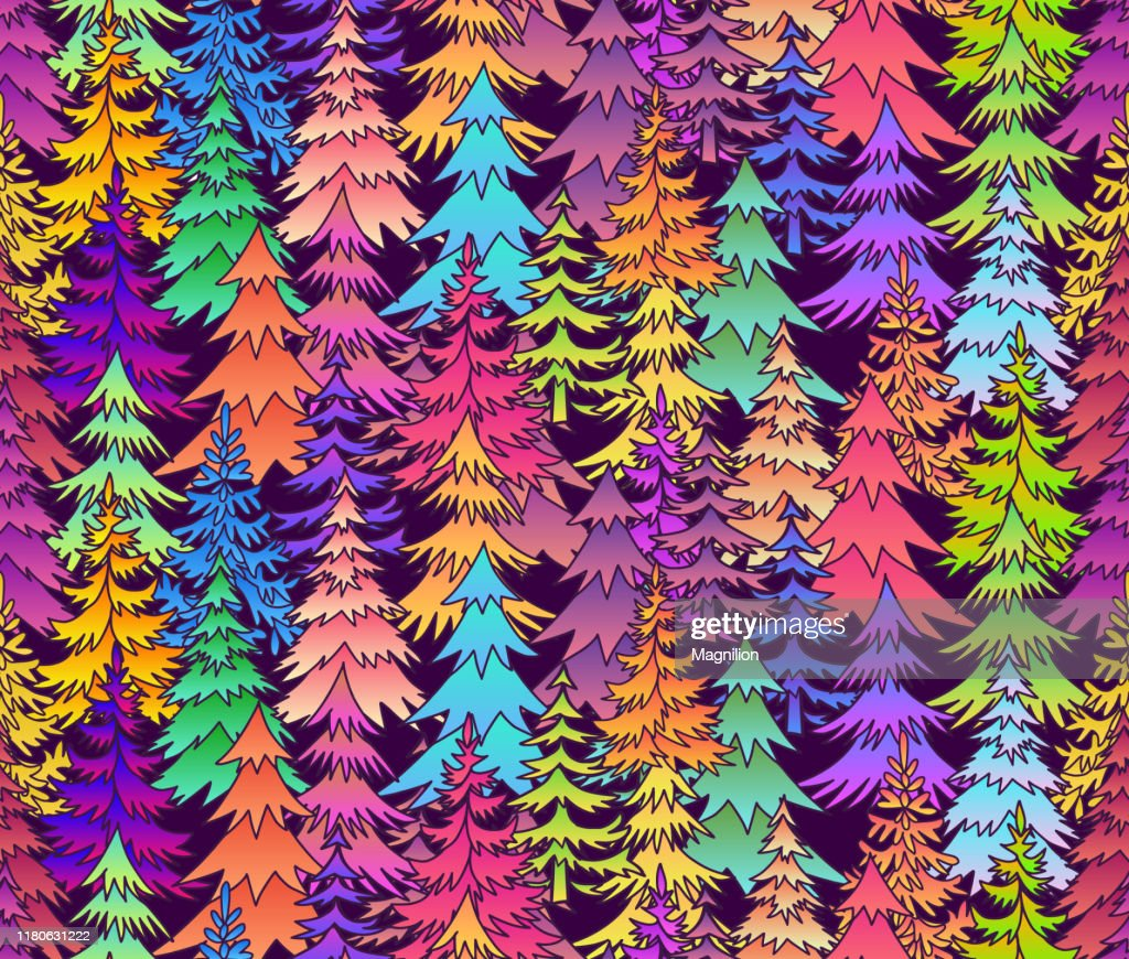 Bright Colors Christmas Trees Doodle Seamless Pattern Background High Res Vector Graphic Getty Images