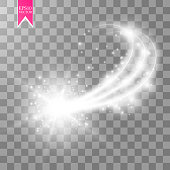 A bright comet with large dust. Falling Star. Glow light effect. Golden lights. Vector illustration