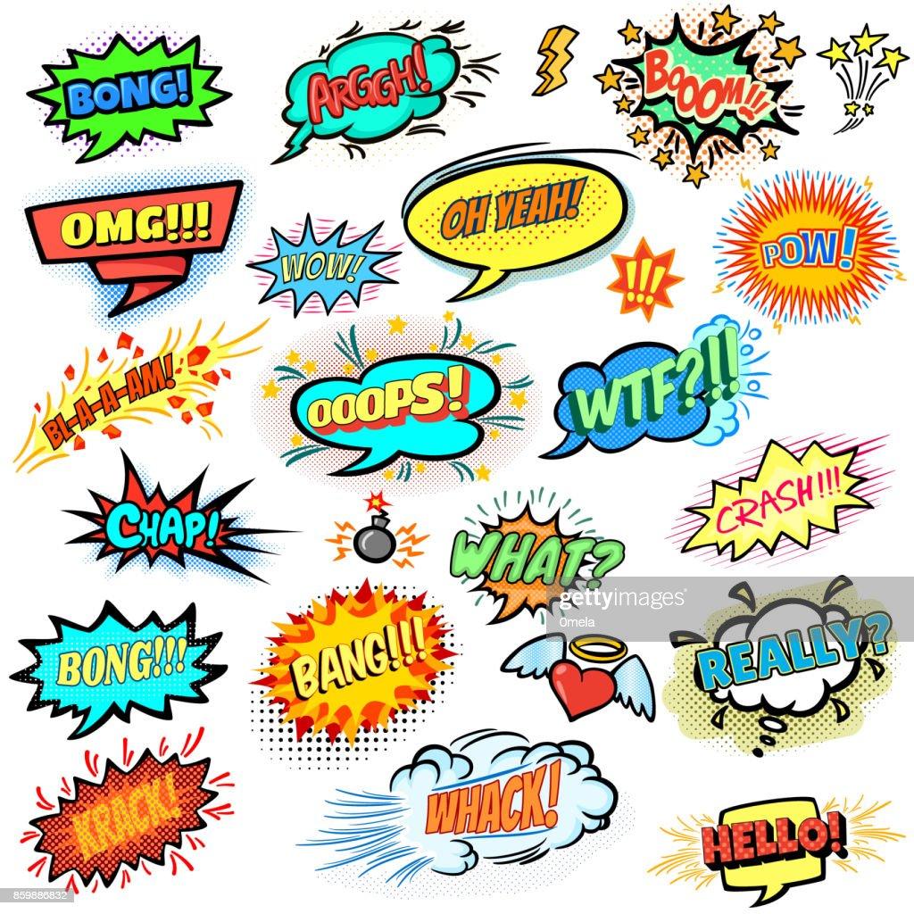 Bright comics design elements, vector cartoon illustration