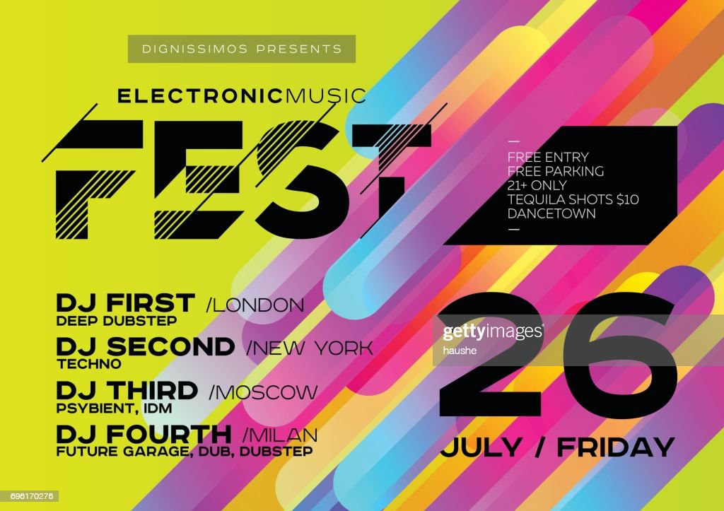 Bright DJ Poster for Open Air. Electronic Music Cover for Summer Fest or Club Party Flyer.