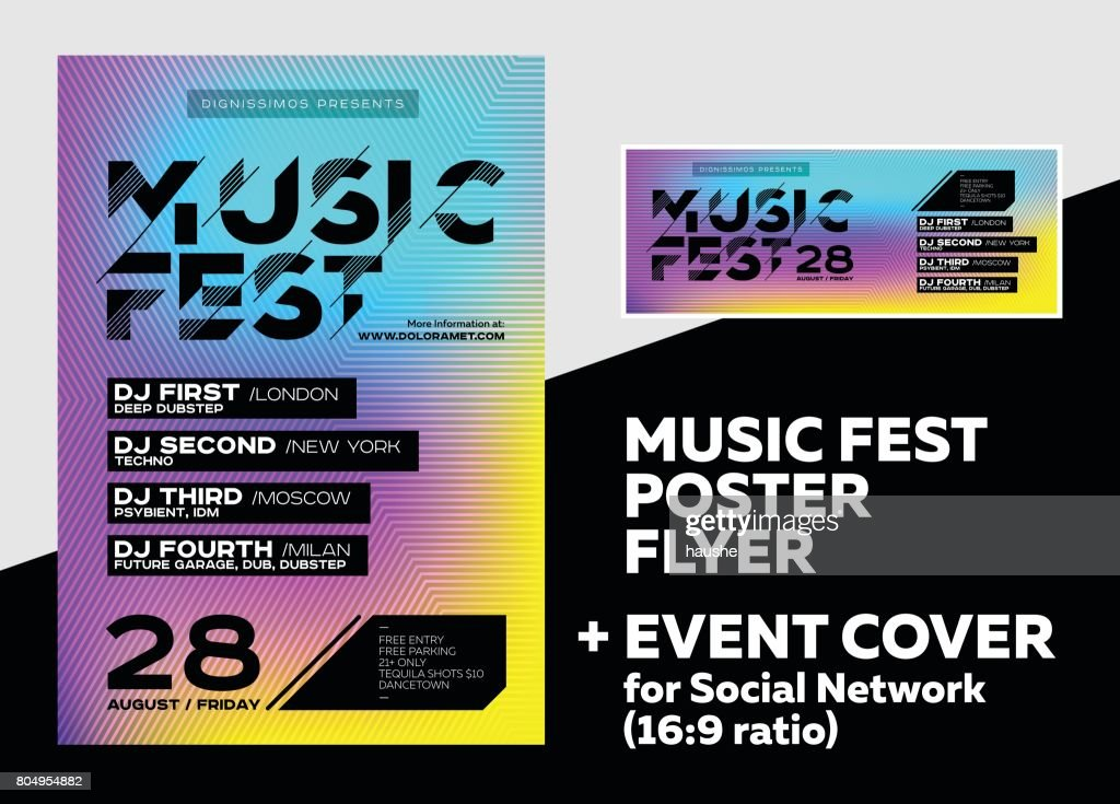 Bright DJ Poster for Summer Festival. Minimal Electronic Music Cover for Fest.