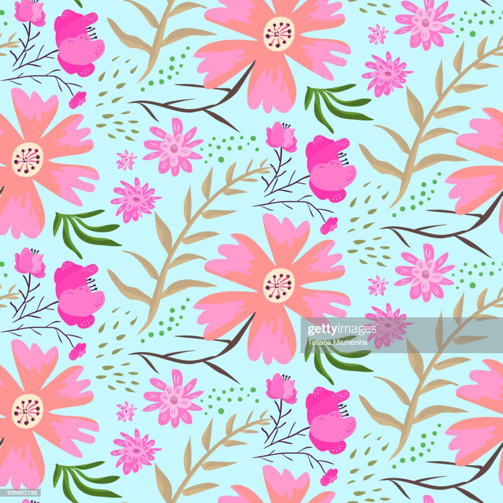 Bright doodle pink flowers summer pattern