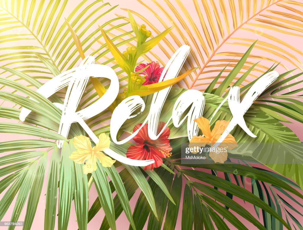 Bright exotic summer design with lettering integrated to tropical plants and flowers. Vector background of hibiscus flowers and royal and banana palm tree leaves