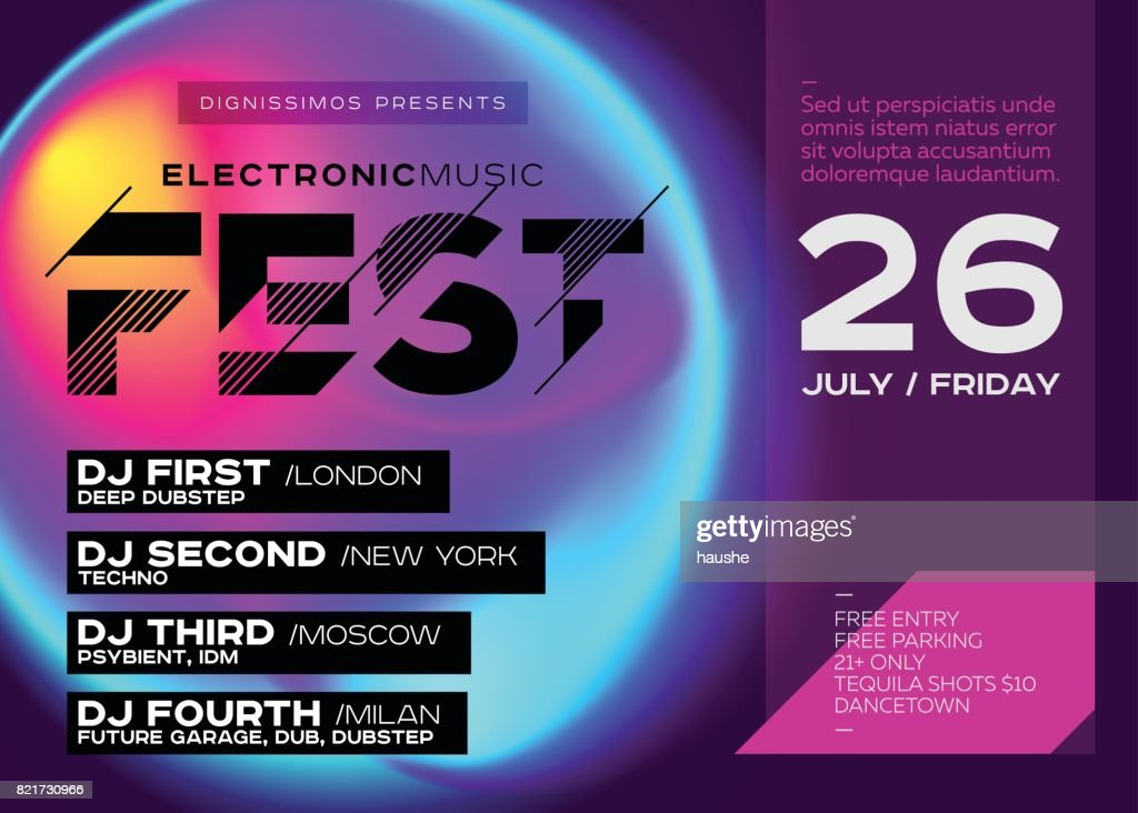 Bright Festival Poster. Electronic Music Cover for Summer DJ Fest or Club Party Flyer.